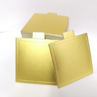 CAKE BOARD SQUARE 90MM W/TAB GOL/SIL