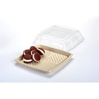 "12"" CLEAR PET SQUARE LID FOR PLATTER"