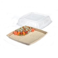 "16"" CLEAR PET SQUARE LID FOR PLATTER"