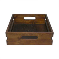PINE TRAY DARK STAIN 295X340X95 W/HANDLE