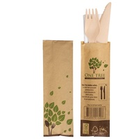WOODEN CUTLERY PACK KNIFE/FORK/NAPKIN