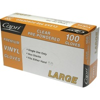 GLOVE VINYL CLEAR LARGE POWDERED