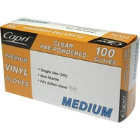 GLOVE VINYL CLEAR MEDIUM POWDERED