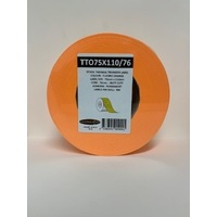 LABEL BLANK 75X100MM ORANGE - 100M ROLL