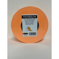 LABEL BLANK 75X55MM ORANGE - 100M ROLL