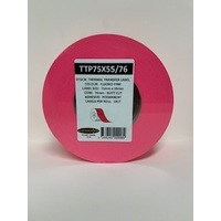 LABEL BLANK 75X55MM PINK - 100M ROLL