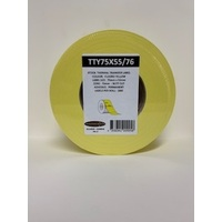 LABEL BLANK 75X55MM YELLOW - 100M ROLL