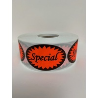 LABEL SPECIAL RED OVAL 67X44MM
