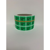 LABEL 20X25 GREEN $2.00 BLOCK PRINT
