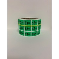 LABEL 20X25 GREEN $3.00 BLOCK PRINT