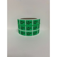 LABEL 20X25 GREEN $3.99 BLOCK PRINT