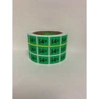 LABEL 20X25 GREEN $4.00 BLOCK PRINT