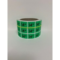 LABEL 20X25 GREEN $4.99 BLOCK PRINT