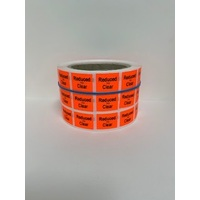 LABEL 20X25 RED REDUCED TO CLEAR 3M