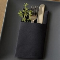 DUNI CUTLERY DINNER NAPKIN BLACK 40X48CM