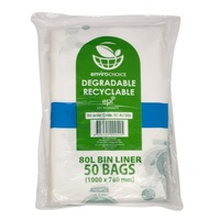 ENVIRO 80LT GARBAGE BAG DEGRADABLE CLR