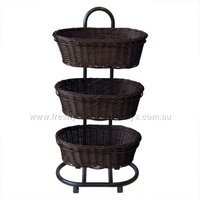 3-TIER OVAL POLWICKER CHOC STAND BASKT