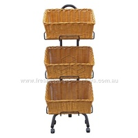 3-TIER RECT POLWICKER NAT STAND BASKET