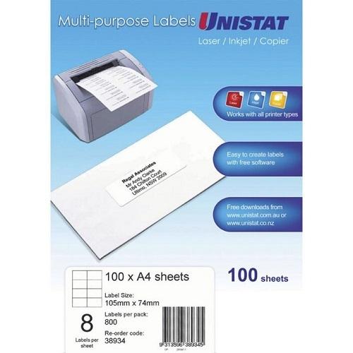 unistat labels 8 per page 38934