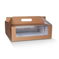KRAFT CAKE BOX 12X12X4IN WINDOW& HANDLE