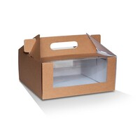 KRAFT CAKE BOX 9X9X4IN WINDOW & HANDLE
