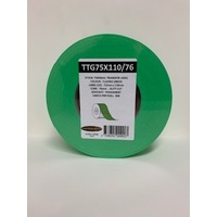 LABEL BLANK 75X110MM GREEN - 100M ROLL