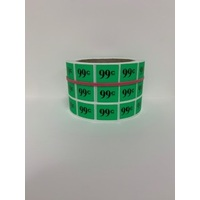 LABEL 20X25 GREEN $0.99 BLOCK PRINT