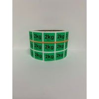 LABEL 20X25 GREEN 2KG NET BLOCK PRINT