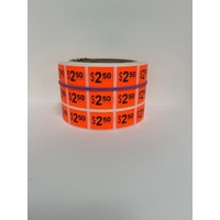 LABEL 20X25 RED $2.50