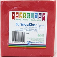 NAPKIN SNACKINS RED 2PLY