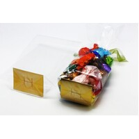 CLEAR BAG 100X250MM WITH GOLD CARD BASE