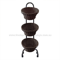 3-TIER POLYWICKER ROUND DARK BASKETSTAND