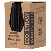 PAPER STRAWS COCKTAIL BLACK