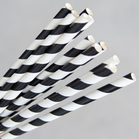 PAPER STRAWS REGULAR BLACK/WHITE STRIPE