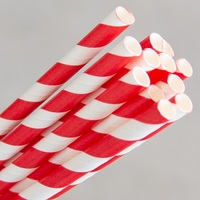 PAPER STRAWS REGULAR RED/WHITE STRIPE