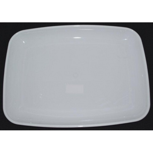 "SQUARE BASE 16"" PLATTER WHITE EACH"